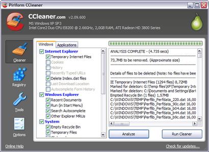 Crap Cleaner 2.09.600 screenshot (410 pix)