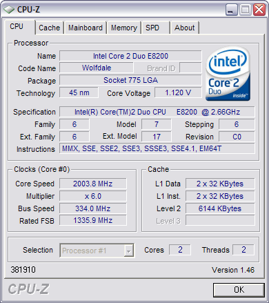 CPU-Z 1.46 screenshot