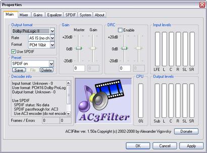 AC3Filter 1.50a screenshot (410 pix)