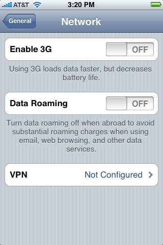 Menu voor roaminginstellingen op Apple iPhone 3G