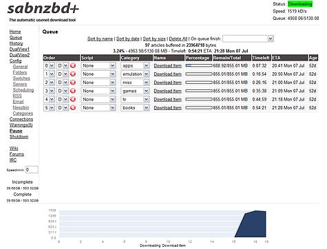 Sabnzbd+ webinterface