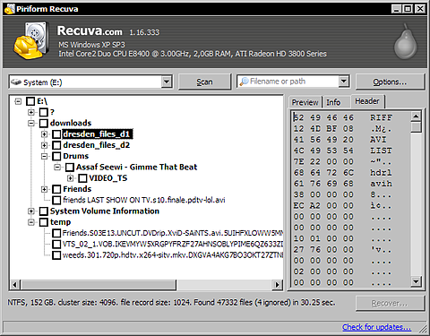 Recuva 1.16.333 op Windows XP