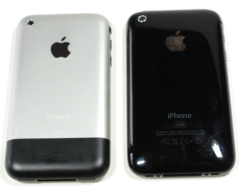 Oude iPhone (l) vs iPhone 3G (r)