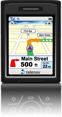 Software van Telenav op een mobieltje