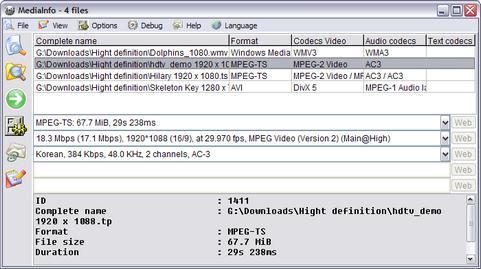 Mediainfo 0.7.7.4 screenshot (481 pix)