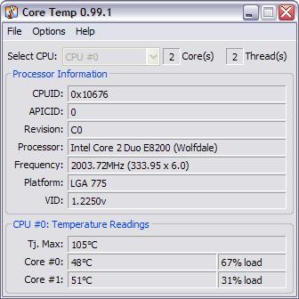 CoreTemp 0.99.1 screenshot