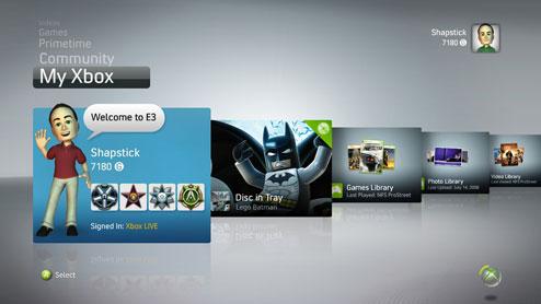 Xbox Live interface najaar 2008