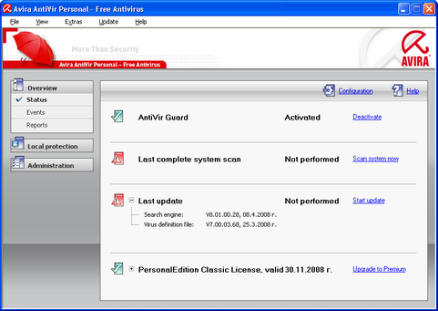 Avira AntiVir Personal screenshot (481 pix)