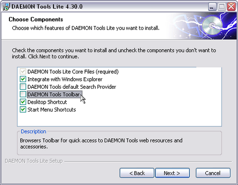 Daemon Tools 4.30.0 installatie screenshot (481 pix)