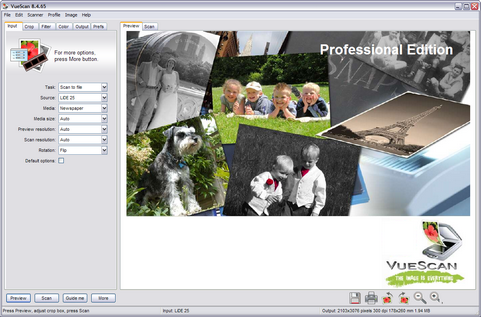 VueScan screenshot (481 pix)