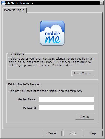 Configuratiescherm Mobileme in Windows XP