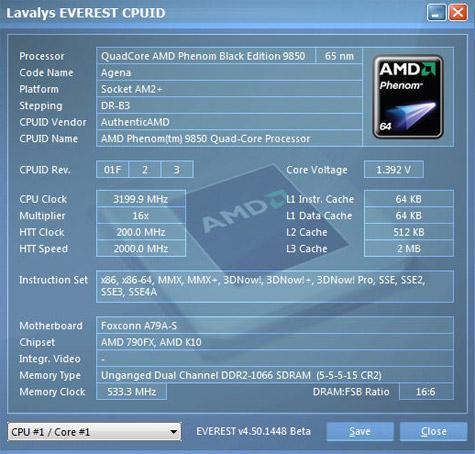 Everest screenshot AMD Phenom @ 3,2GHz