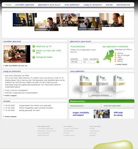 KPN Glasvezel-website