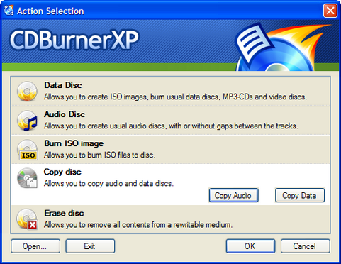 CDBurnerXP screenshot (481 pix)