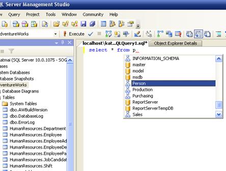 Intellisense in SQL Server 2008 management studio