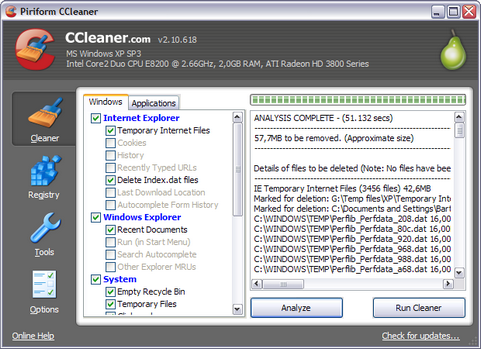 Crap Cleaner 2.10.618 screenshot (481 pix)