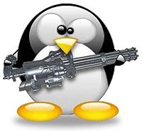 Tux met machinegeweer