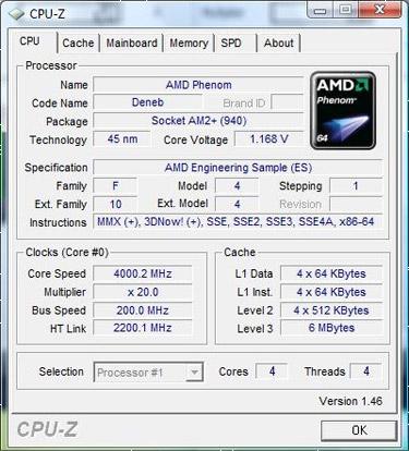 Deneb @ 4GHz cpu-z screenshot