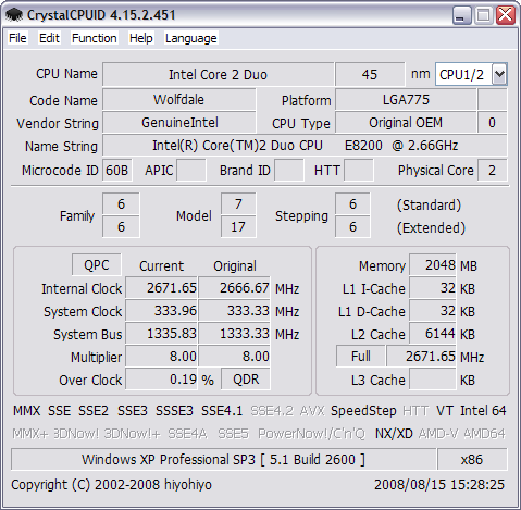 CrystalCPUID 4.15.2.451 screenshot
