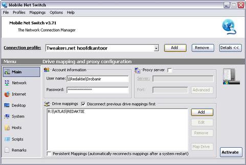 Mobile Net Switch 3.71 screenshot (481 pix)