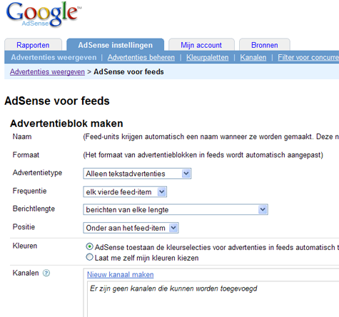 Google Adsense voor Feeds