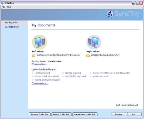 SyncToy 2.0 screenshot (481 pix)