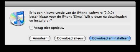 iPhone firmware 2.0.2 in iTunes