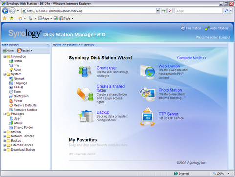 Synology Disk Station Manager 2.0 screenshot (481 pix)