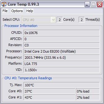 CoreTemp 0.99.3 screenshot