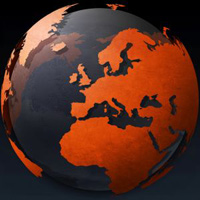 Europa op globe
