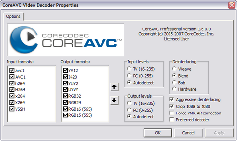 CoreAVC 1.6.0 screenshot (481 pix)
