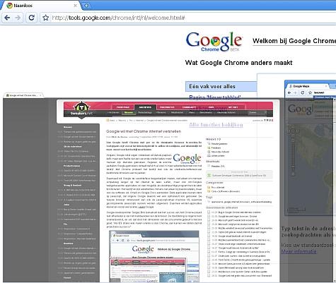 Google Chrome tab-screen