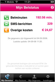 Belstatus T-Mobile op iPhone van P-Edge Media