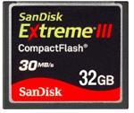 Sandisk Extreme III compactflash 32GB