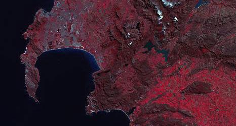 Detail uit luchtopname Kaap de Goede Hoop