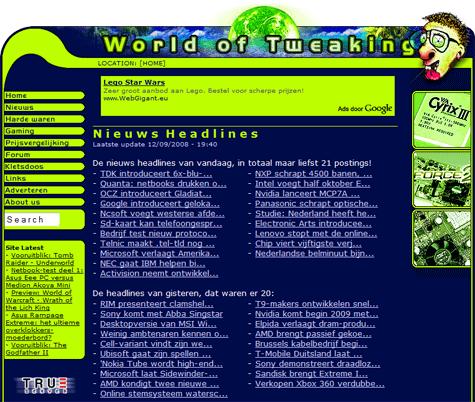 World of Tweaking frontpage 12 sep 08 (klein)