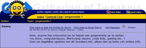 GoT 1999: Danny zoekt geïnteresseerden om jongerensite op te zetten (klein)