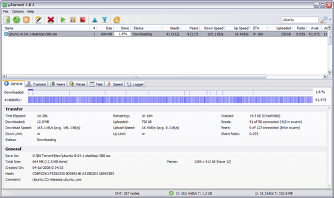 µTorrent 1.8.1 screenshot (481 pix)