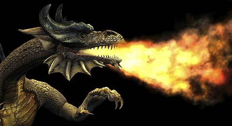 Draak spuwt vuur
