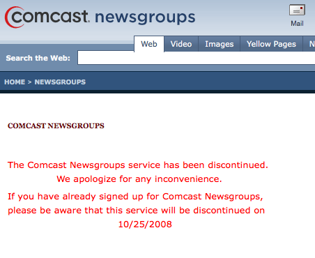 Comcast sluit newsserver