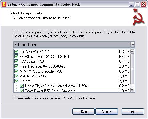 Combined Community Codec Pack 21.9.2008 setup (481 pix)