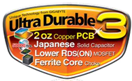 Gigabyte UD3 koper logo