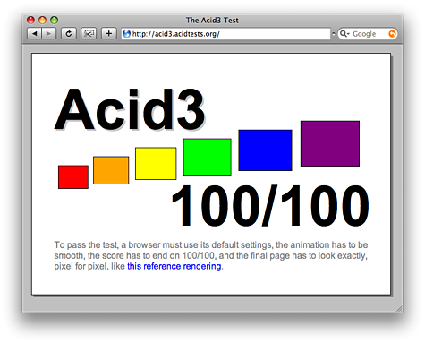 Webkit behaalt Acid3