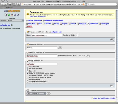 phpMyAdmin 2.11.7 rc1 screenshot (481 pix)