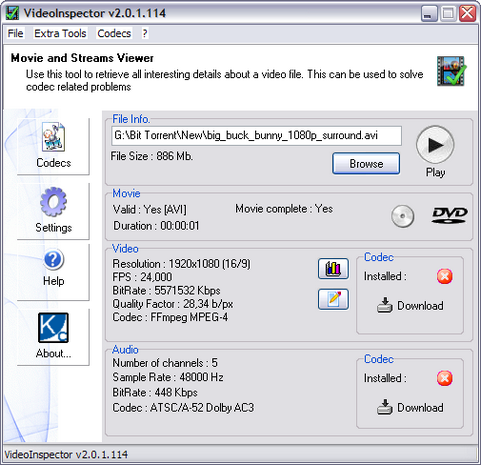 VideoInspector 2.0.1.114 screenshot (481 pix)