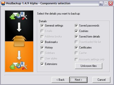 MozBackup 1.4.9 alpha screenshot