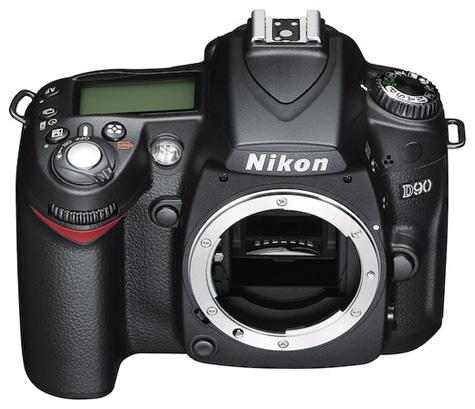 Nikon D90-body, voor-/bovenaanzicht