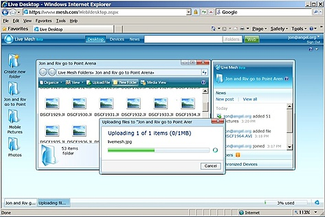 Live Mesh - Drag-and-drop naar Internet Explorer 6+ (kleiner)
