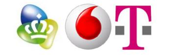 Logo's KPN, Vodafone en T-Mobile