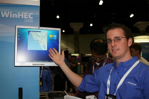 Bernston met gps-gadget van Windows 7 (foto Cnet)